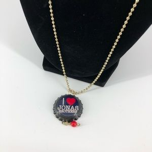 I ❤️ Jonas Brothers Long Chain Bottlecap Necklace